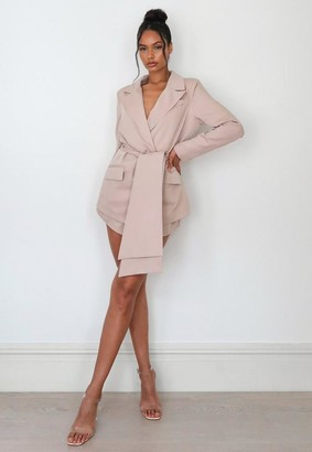 Missguided Stone Co Ord Oversized Wrap Front Blazer