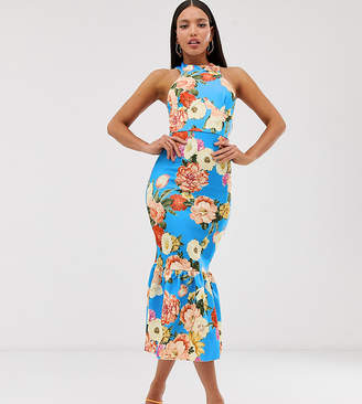 Asos Tall DESIGN Tall halter floral print pep hem midi bodycon dress-Blue
