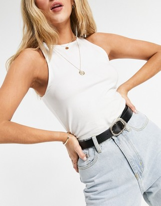 ASOS DESIGN waist and hip belt with textured oval buckle in black