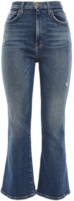 Current/Elliott Distressed Faded High-rise Kick-flare Jeans
