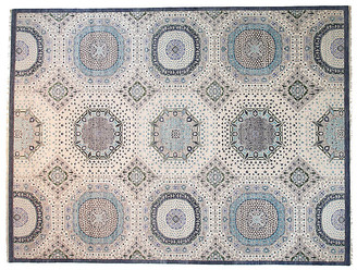 F.J. Kashanian 9'x12' Sari Mamluk Rug - Ivory/Blue