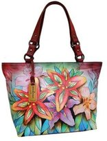 Anuschka Genuine Leather Hand Painted Classic Large Tote (Luscious Lilies)