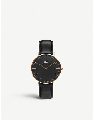 Daniel Wellington Women's Stainless Steel Classic Black Sheffield Leather And Watch