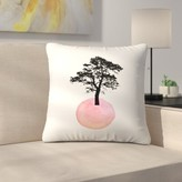 "Pink Tree Throw Pillow East Urban Home Size: 14"" x 14"""