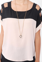 Forever 21 Colorblocked Cutout Shoulder Top