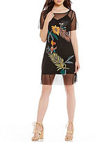 GUESS Jimena Embroidered Mesh A-Line Dress