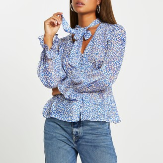 River Island Womens Blue spot print tie bow blouse top