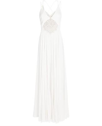 Jonathan Simkhai Kolbi Lace-Trim Pleated Maxi Dress