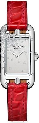 Hermes Nantucket Diamond, Stainless Steel & Alligator Strap Watch