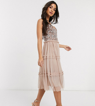 Maya Petite delicate sequin tiered tulle midi dress in taupe blush