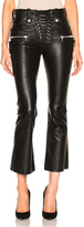 Unravel Lace Front Crop Flare Leather Pants
