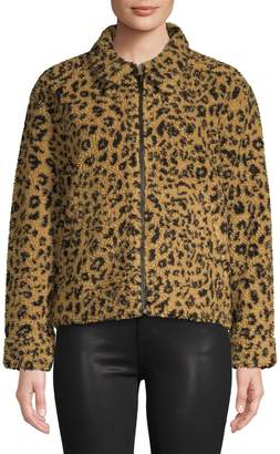Madewell Faux Shearling Leopard-Print Jacket