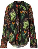 Oscar de la Renta Pussy-bow Printed Silk-blend Blouse - Green