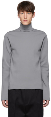 Jil Sander Grey Flyer Patch Turtleneck Sweater