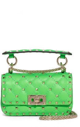 Valentino Mini Spike It Rockstud Neon Leather Shoulder Bag