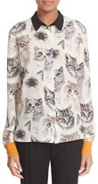 Stella McCartney Women's Cat Print Silk Blouse