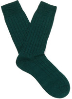 Pantherella Packington Ribbed Merino Wool-blend Socks - Green