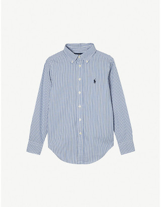 Ralph Lauren Boys Blue and White Custom Fit Long-Sleeve Shirt, Size: 8 Years