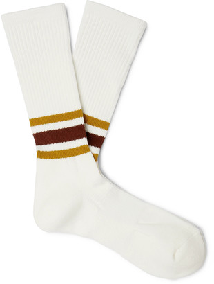 Anonymous Ism - Striped Knitted Socks - Men - Brown