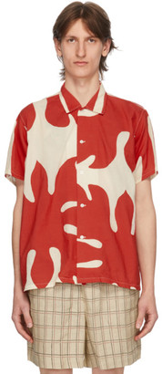 Bode White and Red Cut-Out Applique Shirt
