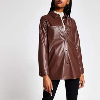 River Island Womens Brown faux leather jacket