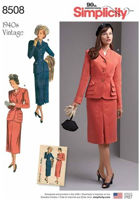 Simplicity Women's Vintage Two Piece Suit With Lined Jacket Sewing Pattern, 8508, AA