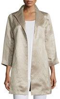 Eileen Fisher High-Collar Satin Coat, Natural