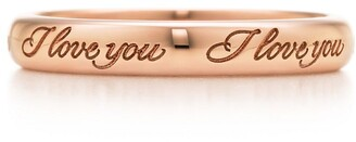 "Tiffany & Co. & Co. NotesTM ""I Love You"" band ring in 18k rose gold, 3 mm wide - Size 4"