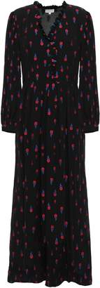 Claudie Pierlot Ripieno Ruffle-trimmed Floral-jacquard Maxi Dress