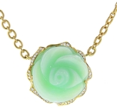 Irene Neuwirth Carved Green Opal Rose Necklace with Diamonds