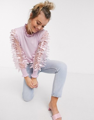Qed London jumper with mesh sleeves in pink