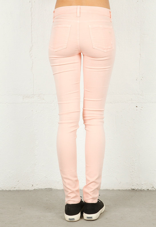 Rag and Bone Skinny Jean with Holes in Peach -
