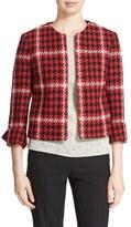 Helene Berman Women's Plaid Woven Collarless Jacket
