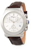 Salvatore Ferragamo Stainless Steel Leather Strap Watch