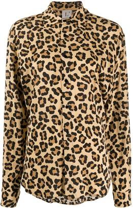 L'Autre Chose Leopard Print Long Sleeve Shirt