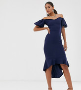 John Zack Tall off shoulder puff sleeve dipped hem midi dress in navy