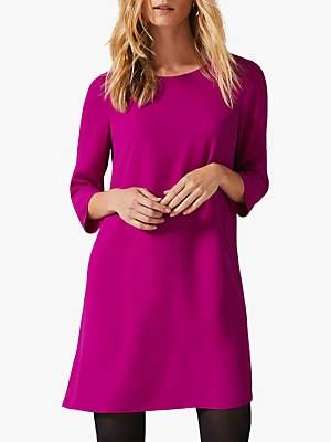 Phase Eight Pia Pleat Dress, Magenta