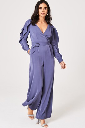 Little Mistress Anais Lavender Grey Cold-Shoulder Belted Jumpsuit