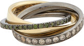 Roberto Marroni Women's Mixed Diamond, Yellow Gold & Oxidized White Gold Triple Ring