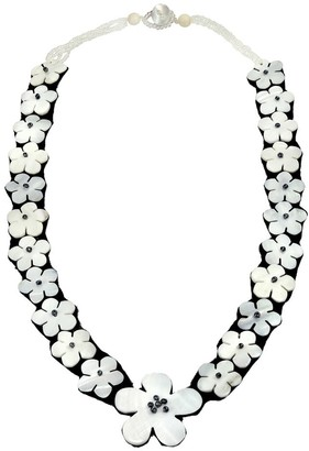 Aeravida Handmade Stunning Linked Flowers of White Mother of Pearl Beaded Statement Necklace