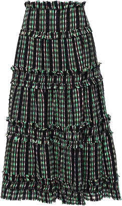 Proenza Schouler Flared Tiered Tweed Midi Skirt