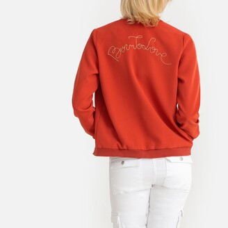 Lpb Woman Bomber Jacket with Embroidered Slogan on Back