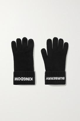 Burberry Appliqued Cashmere Gloves - Black