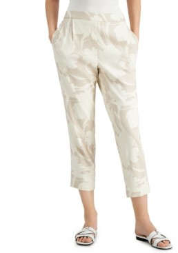Alfani Floral Linen Pull-On Ankle Pants
