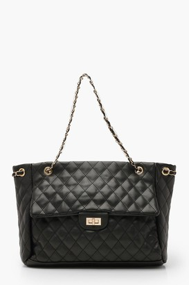boohoo Quilted Chain Handle Day Bag