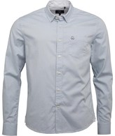 Duck and Cover Mens Emblem Long Sleeve Oxford Shirt Glacier
