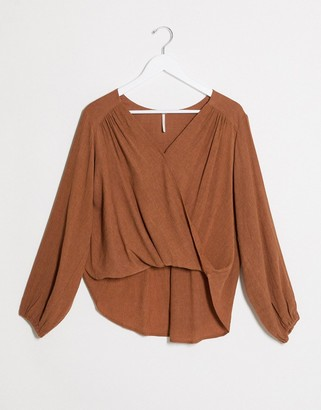 Free People check on it wrap top in bronze