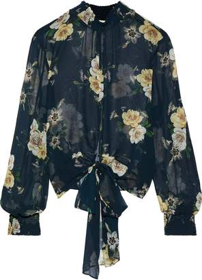 Nicholas Tie-front Floral-print Shirred Silk-chiffon Blouse