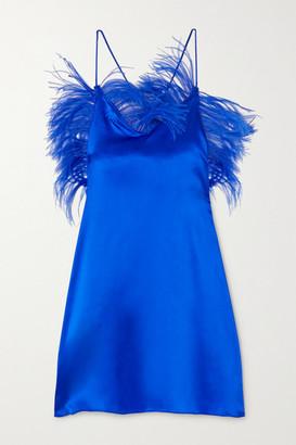 IOANNES Feather-embellished Silk-blend Satin Mini Dress - Blue