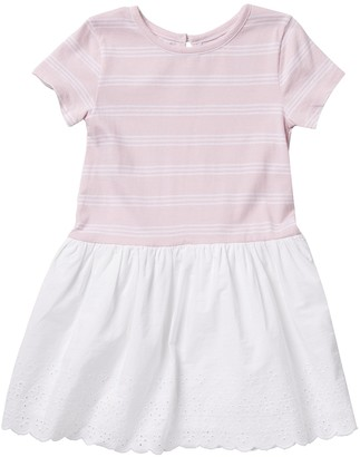 Joe Fresh Stripe Scallop Trim Dress (Toddler & Little Girls)